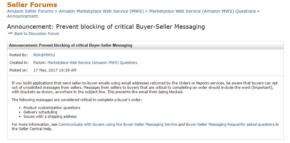 Buyer seller messagin update